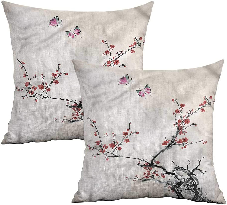 Khaki home Watercolor Flower Square Kids Pillowcase Japanese Flora Square Pillowcase Covers with Zipper Cushion Cases Pillowcases for Sofa Bedroom Car W 20  x L 20  2 pcs