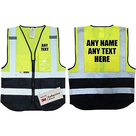 XL//XXL Druckposition:R/ücken Hochwertige Warnweste mit Leuchtstreifen * Bedruckt mit Name Text Bild Logo Firma * personalisiertes Design selbst gestalten Linke Brust Farbe Warnweste:Violett