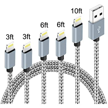 5Pack (3ft,3ft,6ft,6ft,10ft) Nylon Braided Charging Cord Charger Compatible with PhoneX/8/8Plus 7/7 Plus/6s/6s Plus/6/6 Plus/5s/55se,Pad,Pod Grey