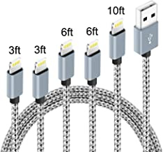 5Pack (3ft,3ft,6ft,6ft,10ft) Nylon Braided Charging Cord Charger Compatible with PhoneX/8/8Plus 7/7 Plus/6s/6s Plus/6/6 Plus/5s/55se,Pad,Pod and More (Gray&White)