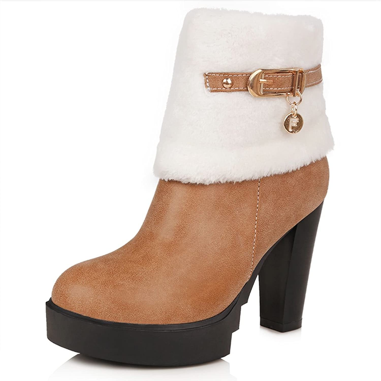 DoraTasia Women's Print Floral Faux Fur Zipper Platform Chunky Heel Boots