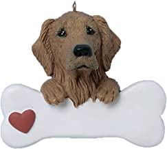 Personalized Golden Retriever Christmas Tree Ornament 2019 - Dog Paw Bone Heart Large Loyal Puppy Game Hunting Best Furever Family Kind Fluffy Good Dark Light - Free Customization