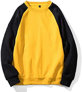 UUYUK Men Relaxed Fit Stitching Pullover Round Neck Long Sleeve Sweatshirt