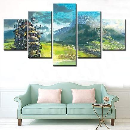 3f4ab7105d JSBVM 5 Pezzi Moderno Tela Pittura Wall Art Il Castello errante di Howl  Immagine Stampa su