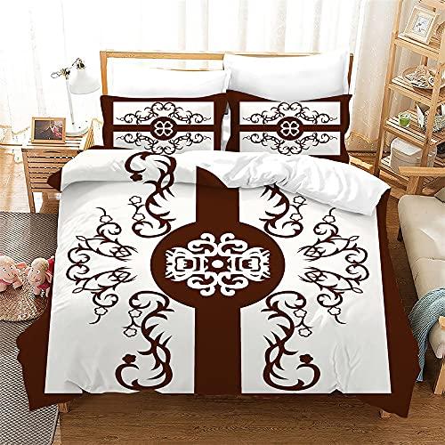 Ropa de cama de miung funda de colcha de 2/3 piezas funda de almohada de doble capa super suave funda de colcha, Anti - alergia, no - hierro, lujo de fibra ultrafina (Style 5,240×220cm-Cama150cm)