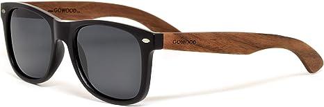 GOWOOD Gafas de sol para hombre y mujer con patillas de madera de nogal y cristales polarizados