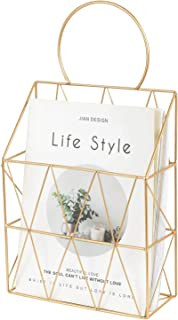 YINASI Metal Wire Magazine Holder Newspaper Organizer Storage Basket Wall Mounted for Living Room Room Bathroom Office، Gold