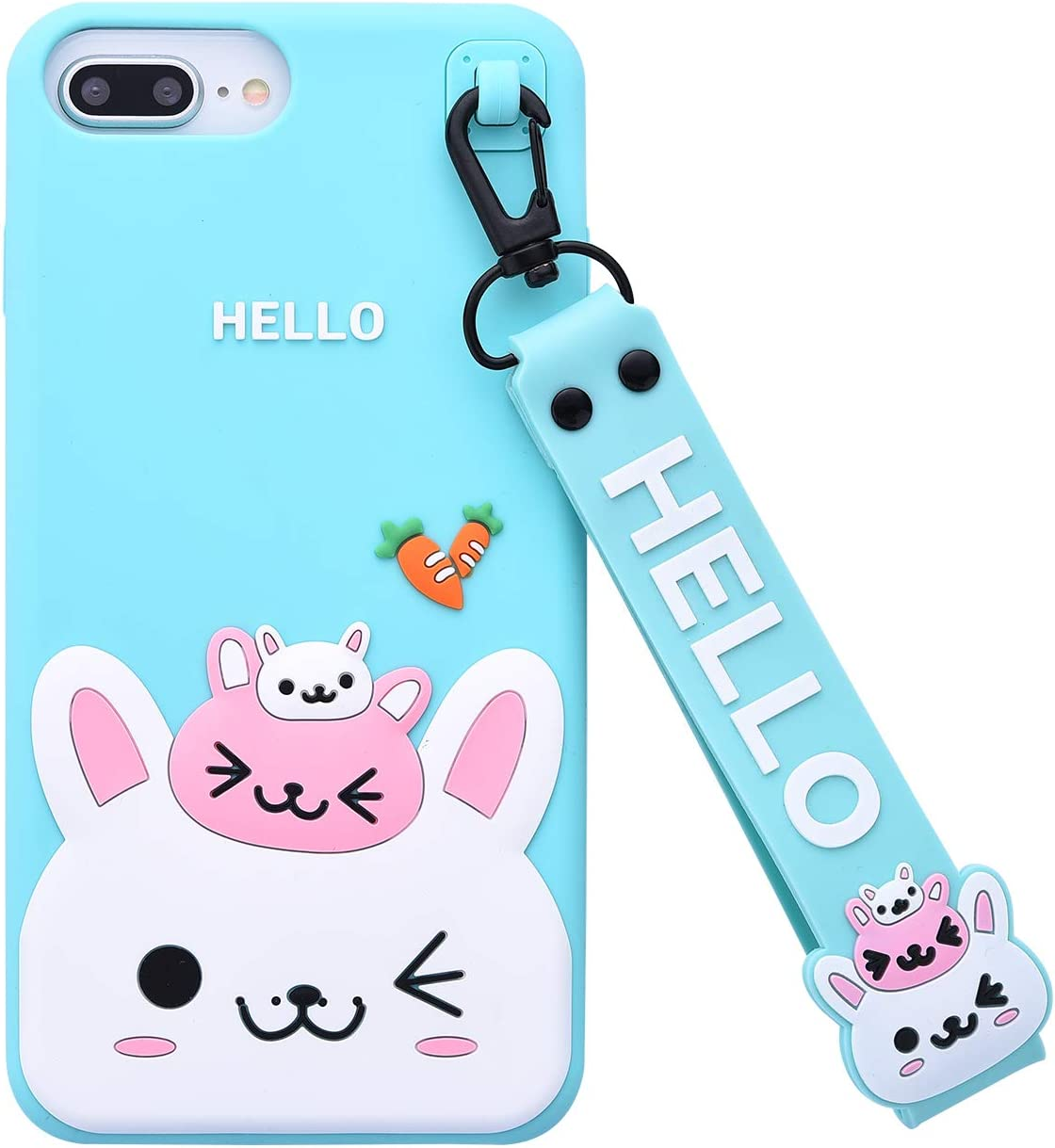 Case for iPhone 7Plus/iPhone 8Plus Case,iFunny Cute 3D Cartoon Kawaii Radish Rabbit Shockproof Soft Silicone Rubber Case with Wrist Strap for iPhone 6 6S Plus 7 8Plus (5.5inch) (Radish Rabbit Green)