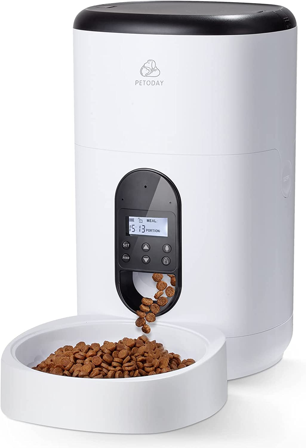 PETODAY 4L Automatic Cat Feeder,Timed Feeder with Voice Recorder, Dry Food Dispenser for Cat & Dog, with Programmable Timer for up to 4 Meals per Day, Automatic Pet Feeder Up to 20 Portion