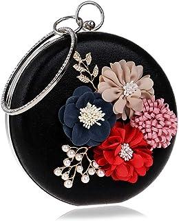 Fine Bag/Ladies' Party Bag Flower Accessories Handbag Prom Fashion Clutch Banquet Bag (Color : Black, Size : One Size)