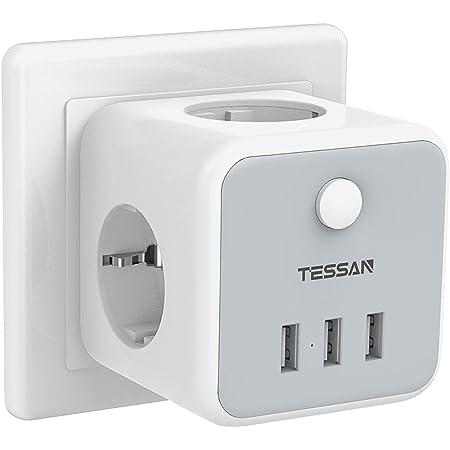 TESSAN Enchufe USB, 6 en 1 Cubo Ladron Enchufes Triple con 3 puertos USB(3A),Cubo Enchufe Multiple Pared con Interruptor, Cargador USB Compatible con Phone, Pad, Ladron USB para Hogar Oficina