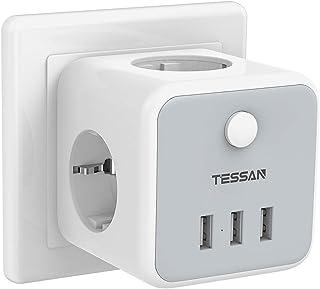 TESSAN Enchufe USB, 6 en 1 Powercube Ladron Enchufes Triple con 3 puertos USB(3A),Cubo Enchufe Multiple Pared con Interrup...