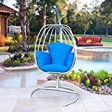 ART TO REAL Indoor Outdoor Hanging Egg Swing Chair with Cushion and C Stand, Egg Shaped Hanging Swing Chair, Egg-Shaped Hammock Swing Chair Single Seat (Blue)