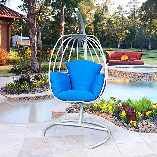 ART TO REAL Indoor Outdoor Hanging Egg Swing Chair with Cushion and C Stand, Egg Shaped Hanging...