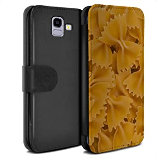 eSwish PU Leather Wallet Flip Case/Cover for Samsung Galaxy J6 2018/J600 / Farfalle Pasta Design/Food Collection