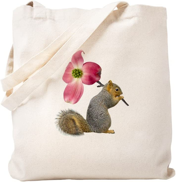 CafePress [Alternative dealer] Ranking TOP4 Squirrel Pink Flower Natural Canvas Tote Bag
