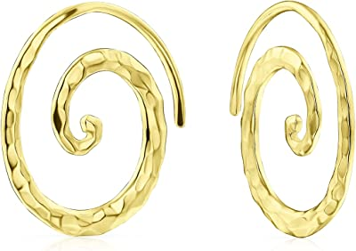 Boho Geometric Tribal Swirl Hammered Wire Spiral Hoop Threader Orecchini per donna Teen Yellow 14K Oro Placcato .925 Sterling Silver