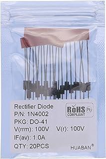 20PCS 1N4002 Rectifier Diode 1A 100V DO-41 (DO-204AL) Axial 4002 1 Amp 100 Volt