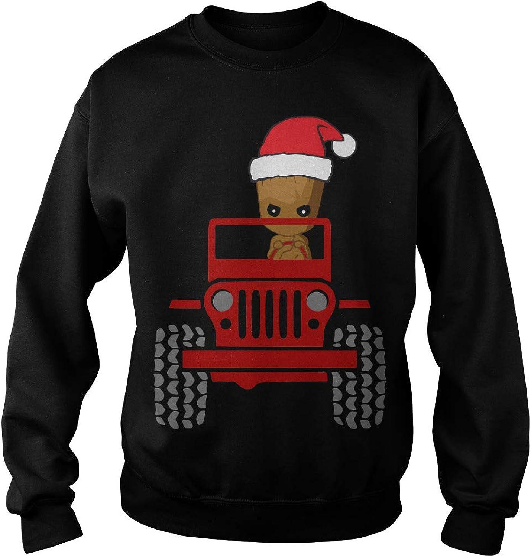 Poogky Baby Groot Drive Jeep Christmas Adult Crewneck Sweatshirt