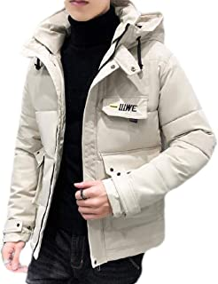 Fubotevic Mens Hooded Winter Solid Color Zip Up Warm Down Quilted Coat Jacket Outwear
