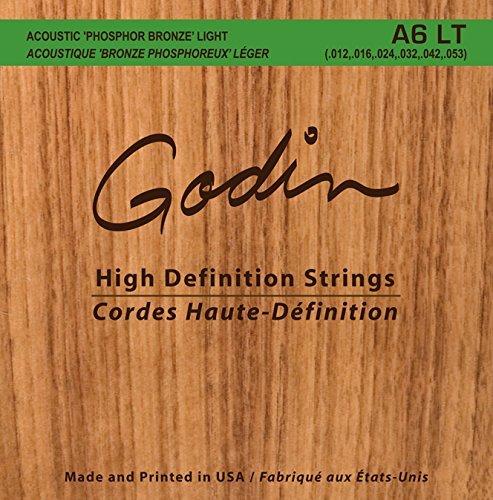 Godin Guitars 008995 Seagull A6 LT - Corde per chitarra acustica, in bronzo fosforoso, luce (rinforzate)