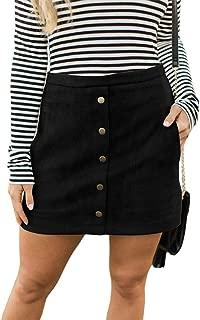 Women High Waist Soft Faux Suede Button Down Skirt Slim Back Zip Side Pocket Mini Skirts