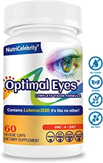 Nutricelebrity Lutein and Zeaxanthin Supplements - Eye Vitamins Lutemax 2021 Support Dry Eye and Night Vision 60 Caps (1 Per Day) Dietary Supplement