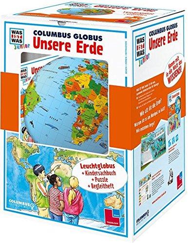"""WAS IST WAS Junior: Columbus Globus-Set \""""Unsere Erde\"""". Leuchtglobus d 26 cm, Buch, Europa-Puzzle, Begleitheft"""