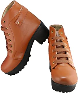 Legendary Style High Ankle Boots for Women Resonable (Maroon,40 EU/7 UK-IND)
