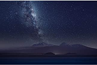 Milky Way Mountains Stars Sky Night Space - Poster Art Print on Canvas 12x16inch