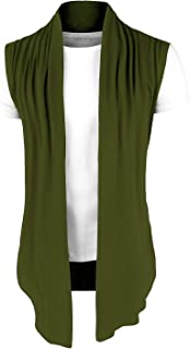 sourcing map Men's Ruffle Shawl Collar Cardigan Sleeveless Lightweight Vest Drape Cape