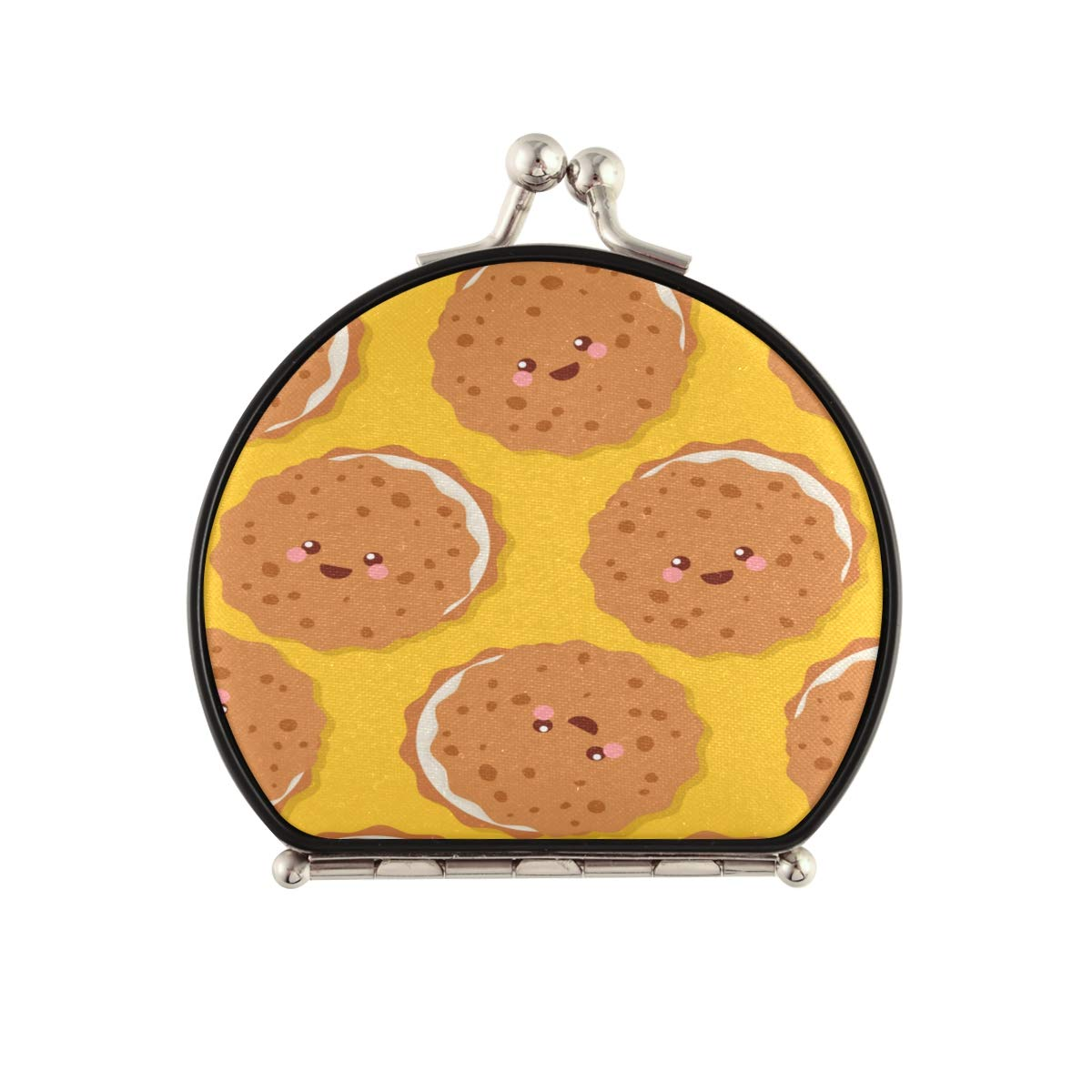 Magnifying New York Mall Compact Cosmetic Mirror Alternative dealer Cute Po Cookies Happy Pattern