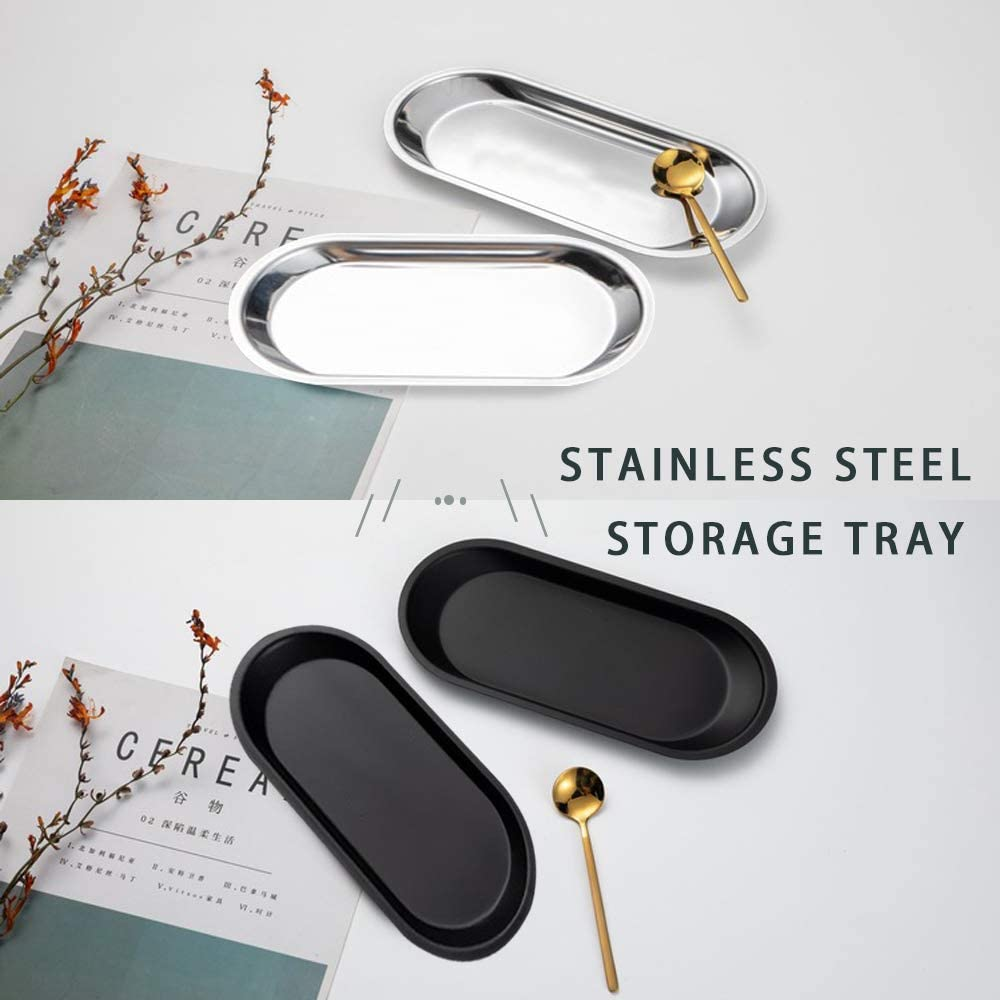 Jewelry Premium Metal Organizer Plate to Hold Fruit Bathroom 2 Pack 9in Deep Bottom Stainless Steel Towel Tray, Oval Stainless Steel Storage Tray for Vanity Black Closets