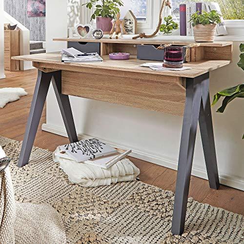 FineBuy Table de Bureau 120 x 86 x 60 cm Chêne Sonoma/Gris Table de Bureau pour Ordinateur | Table PC avec tiroirs | Bureau d'ordinateur Table d'ordinateur | Table d'ordinateur Portable