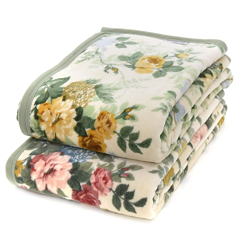 奨励ゴールドヒント西川 サンダーソン 綿毛布 シングル 日本製 (ベージュ)
