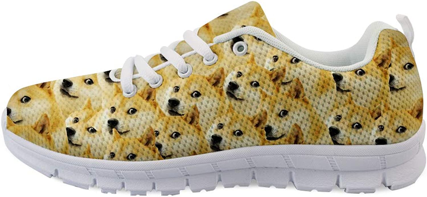 Owaheson Lace-up Sneaker Training shoes Mens Womens Doge Meme Trypophobia