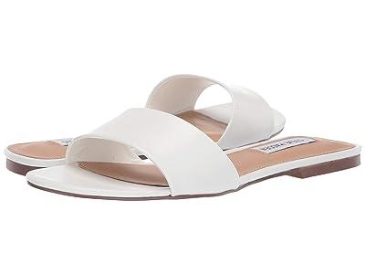 Steve Madden Bev Flat Sandal (White Leather) Women