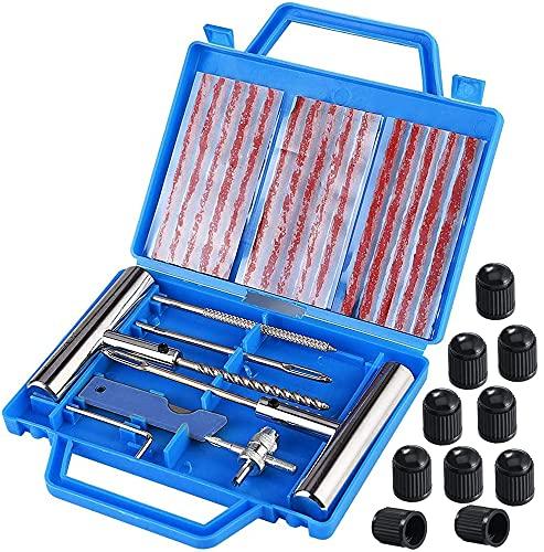 Kit de Reparación de Neumáticos 32pcs, Kit Repara Pinchazos Pequeño Herramienta de Reparación de Pinchazos para Neumaticos para moto, coche, bicicletas, Con tapones de válvula para neumáticos