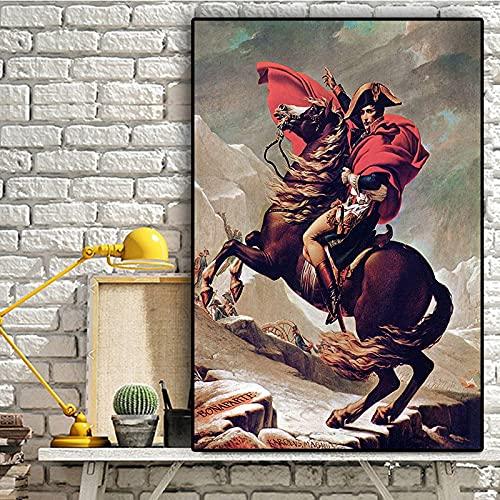PEEKEON Napoleón Bonaparte Caballo Retrato de pintura al óleo sobre arte de lienzo Pósteres y estampados Imágenes de pared escandinava para la decoración de la sala de estar 20x28 inch Sin mar