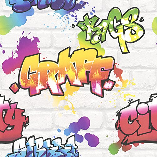 Kinder Jugend Tapete Papier Graffiti Stein bunt Rasch Papiertapete 272901