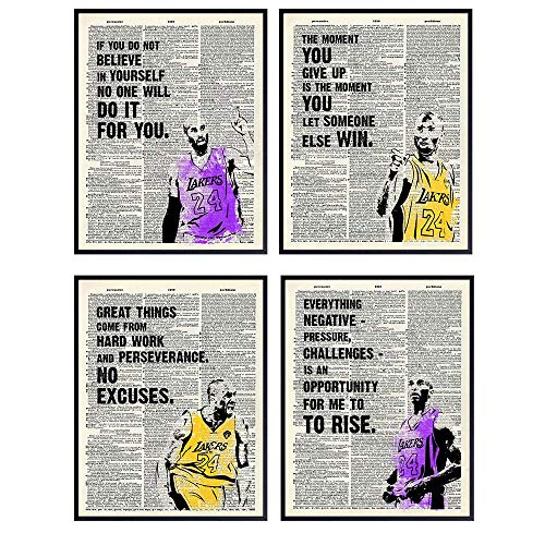Kobe Bryant Motivational Quotes - Inspirational Wall Art, Home Decor - Room Decorations Poster Print Set - Cool Unique Gift for Men, Boys, Teens, Lakers, Basketball, Sports Fan -8x10 Pictures