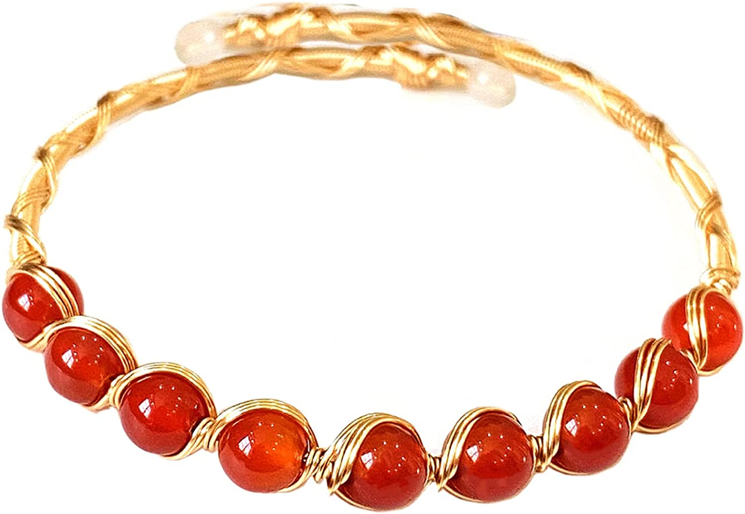 Natural Handmade Red Agate Round Beaded Chakra Cuff Bracelet Adjustable 14K Gold Plated Wrapped Lobster Clasp Bracelet Pearl Stone Bead Open Cuff Bracelet for Women Girls Delicate Jewelry Gift