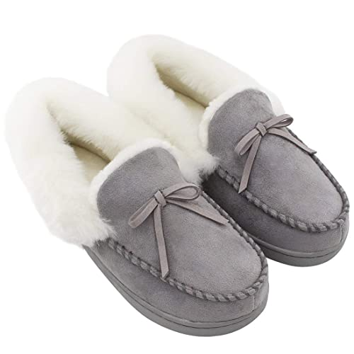 e6acc2405b6 HomeIdeas Women s Faux Fur Lined Suede House Slippers