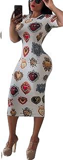 فستان ضيق للنساء مقاس متوسط عمل كاجوال مطبوع عليه ورود مع حزام