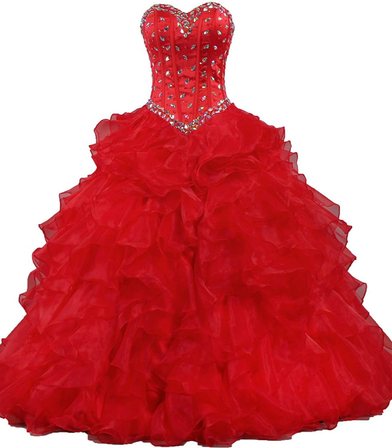 ANTS Women's Strapless Crystal Prom Quinceanera Party Dress Ball Gown