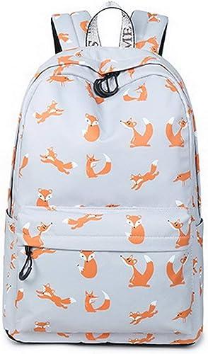 FERZA Home étanche à la Mode mode College sac à dos avec Sacoche à Ordinateur portable 15.6 Booksac Mignon pour Les Filles Adolescentes gris Fox