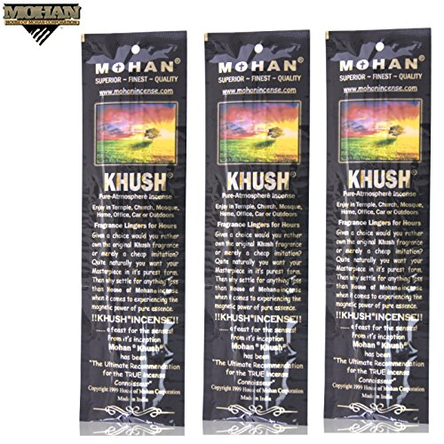 Incense Sticks Khush Scents by Mohan® - Pack of 250 Sticks (9.2 Inches Tall) - Makers of the World Famous Khush (Kush) Scent - Premium Pure Charcoal Incense Hand Rolled in the Finest Herbs, Spices, Oils, Honey, and Sandalwood Powder