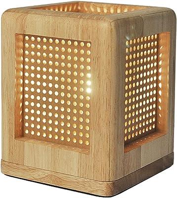 デスクライト ベッドサイドランプ 屋内照明 照明 テーブルランプ イルミネーションライト 卓上ライト 純木の寝室のベッドサイドランプの家の装飾部屋の夜の光 ZHAOYONGLI (色 : 木の色, サイズ さいず : 15*15*19cm)