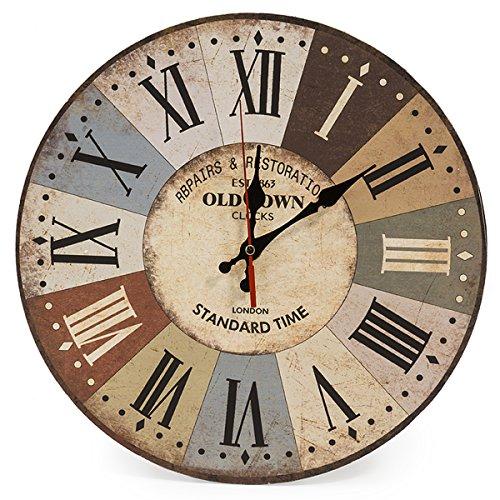 LOHAS Home - Orologio da parete rotondo, in legno, design vintage, silenzioso,...