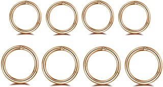 Changgaijewelry 8Pcs Surgical Stainless Steel 16G Sleeper Cartilage Tiny Hoop Earrings Septum Hinged Clicker Nose Ring Helix Tragus Piercings 8mm 10mm Set Gold Black (Rose Gold)